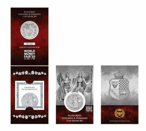 2019 The Allegories - Columbia & Germania 1oz .9999 Silver Coin - World Money Fair Exclusive 3