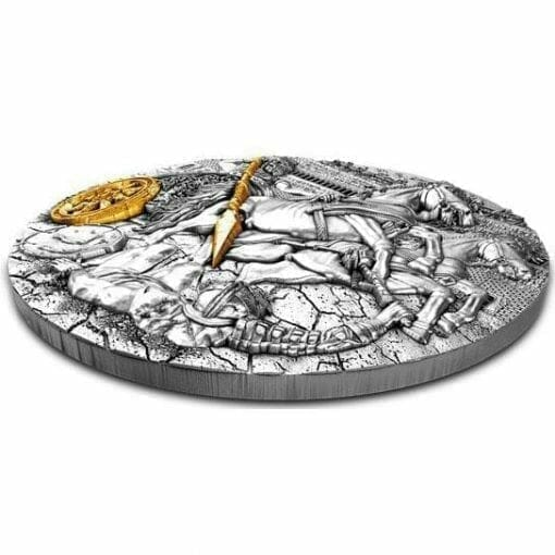 2019 Chariot 2oz .999 Gilded Ultra High Relief Antiqued Silver Coin 2