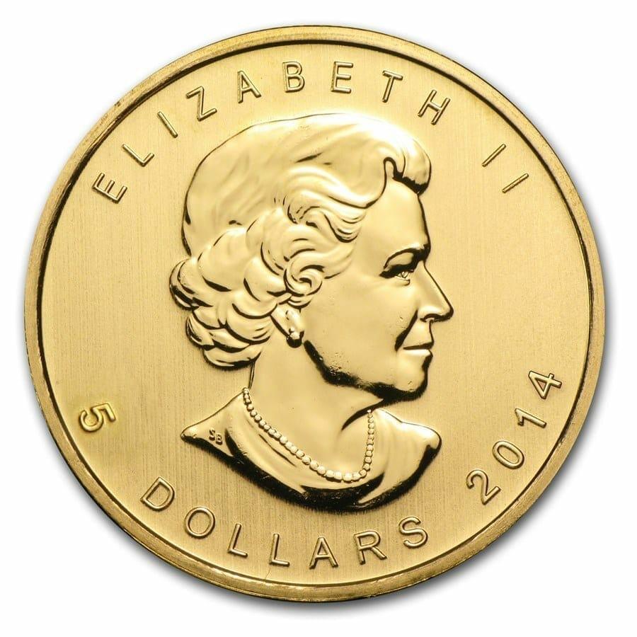 2014 Maple Leaf 1/10oz .9999 Gold Bullion Coin 2