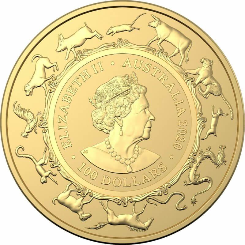 2020 Year of the Rat 1oz .9999 Gold Bullion Coin - Lunar Series 2