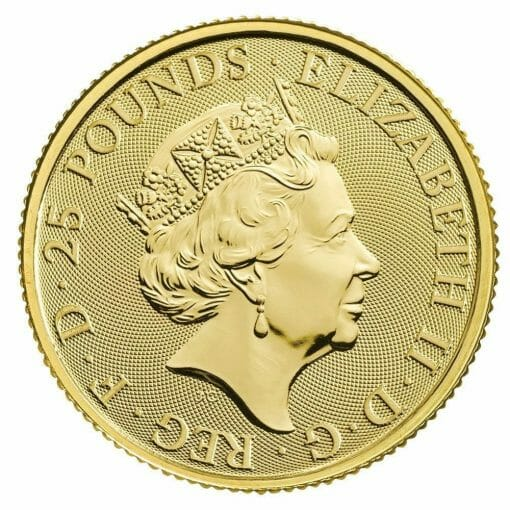 2020 The Queen's Beasts - The White Lion of Mortimer 1/4oz .9999 Gold Bullion Coin 2