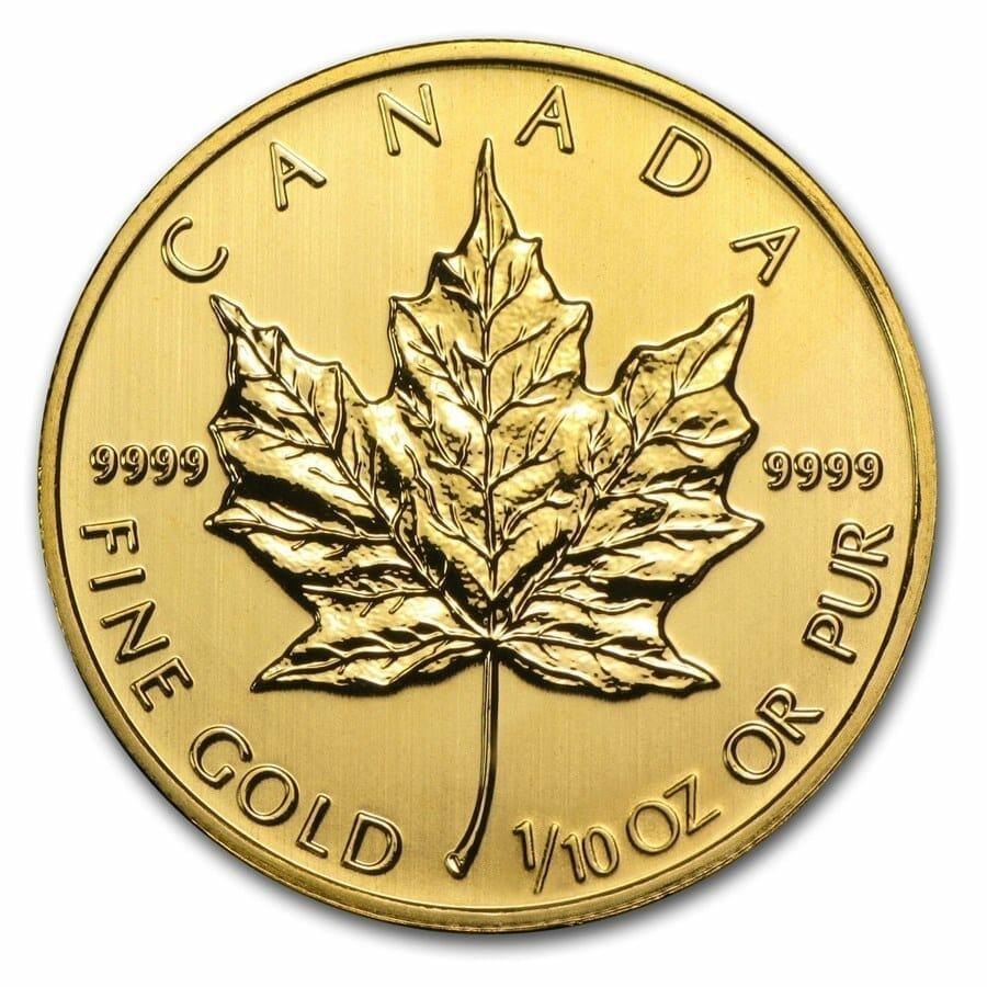 2014 Maple Leaf 1/10oz .9999 Gold Bullion Coin 1