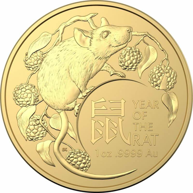 2020 Year of the Rat 1oz .9999 Gold Bullion Coin - Lunar Series 1