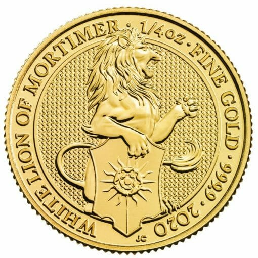 2020 The Queen's Beasts - The White Lion of Mortimer 1/4oz .9999 Gold Bullion Coin 1