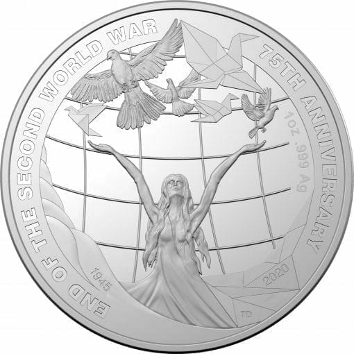 2020 $5 75th Anniversary of the End of World War II 1oz .999 Silver Proof Coin 1