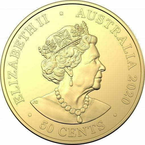 2020 50c Australian Olympic Team Round Gold Plated Uncirculated Coin - CuNi 3