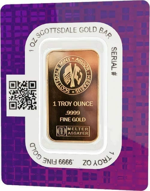 Scottsdale Mint 1oz .9999 Gold Minted Bullion Bar 2