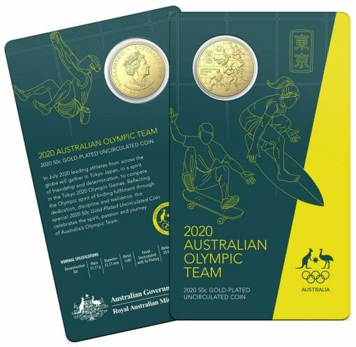 2020 50c Australian Olympic Team Round Gold Plated Uncirculated Coin - CuNi 4