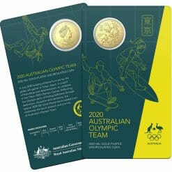 2020 50c Australian Olympic Team Round Gold Plated Uncirculated Coin - CuNi 7