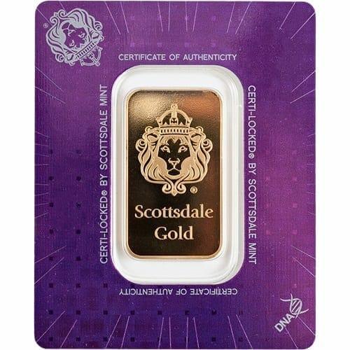 Scottsdale Mint 1oz .9999 Gold Minted Bullion Bar 1