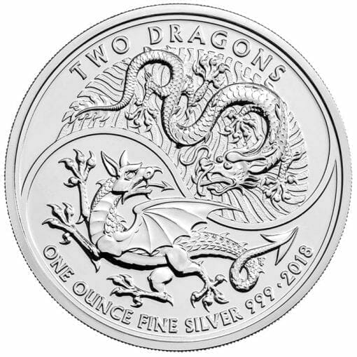 2018 Two Dragons 1oz .999 Silver Bullion Coin 1