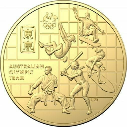 2020 50c Australian Olympic Team Round Gold Plated Uncirculated Coin - CuNi 2