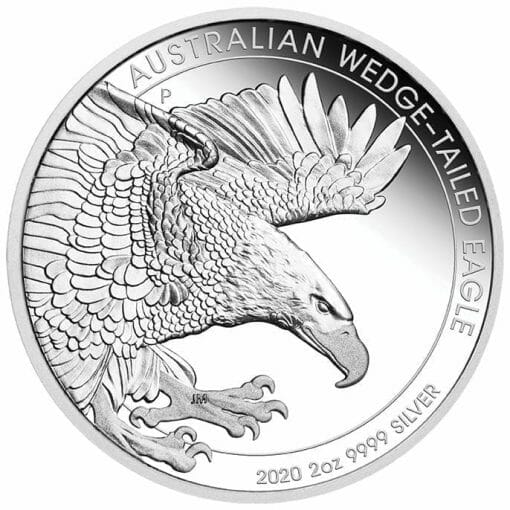2020 Australian Wedge-Tailed Eagle 2oz .9999 Silver Proof Piedfort Coin 1