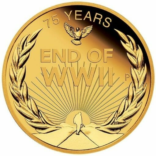 2020 End of WWII 75th Anniversary 1/4oz .9999 Gold Proof Coin 1