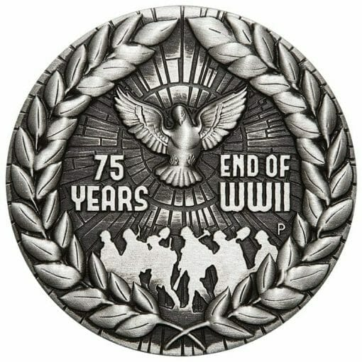 2020 End of WWII 75th Anniversary 2oz .9999 Silver Antiqued Coin 1