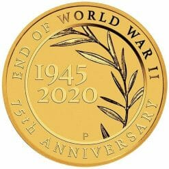 2020 End of WWII 75th Anniversary 0.5g .9999 Gold Proof Coin in Card 6