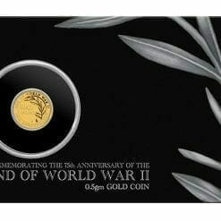 2020 End of WWII 75th Anniversary 0.5g .9999 Gold Proof Coin in Card 9