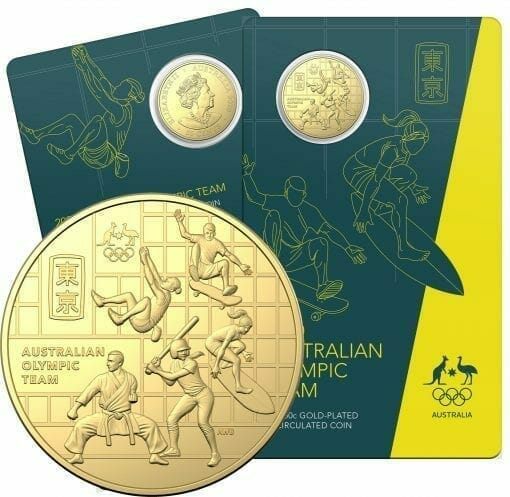 2020 50c Australian Olympic Team Round Gold Plated Uncirculated Coin - CuNi 1