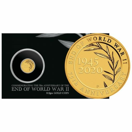 2020 End of WWII 75th Anniversary 0.5g .9999 Gold Proof Coin in Card 1