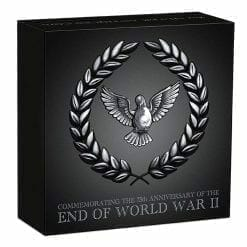 2020 End of WWII 75th Anniversary 2oz .9999 Silver Antiqued Coin 9