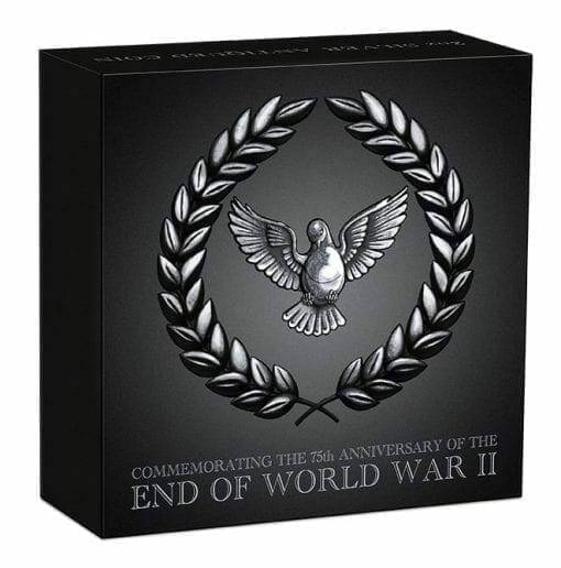 2020 End of WWII 75th Anniversary 2oz .9999 Silver Antiqued Coin 5