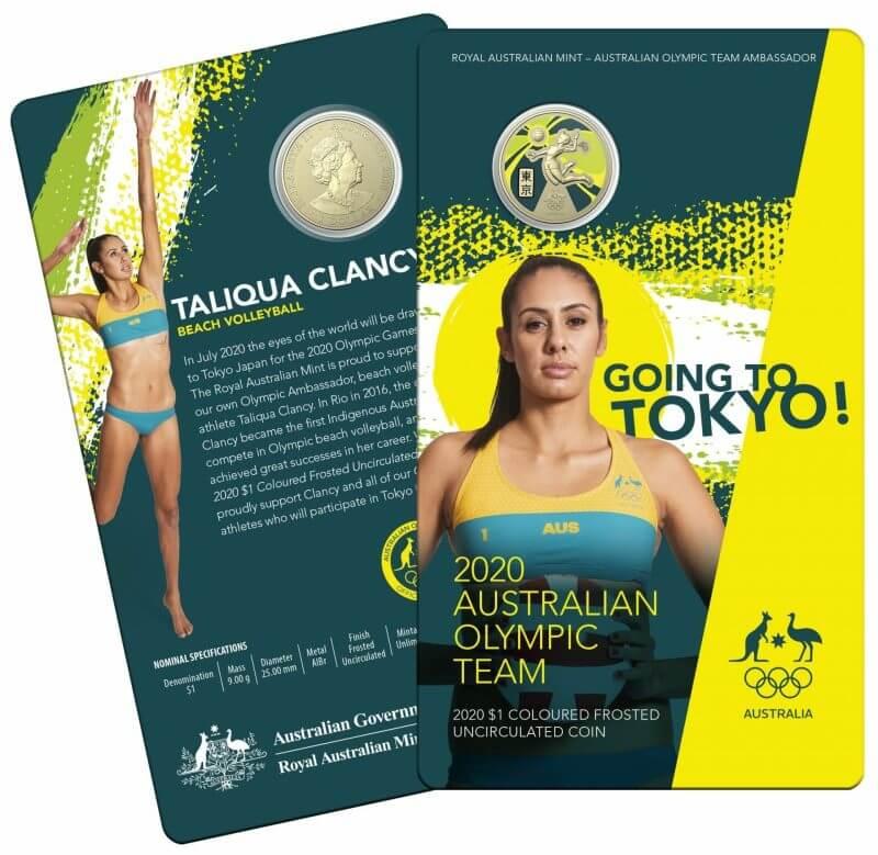 2020 $1 Australian Olympic Team - Ambassador Uncirculated Coloured Coin - AlBr 4