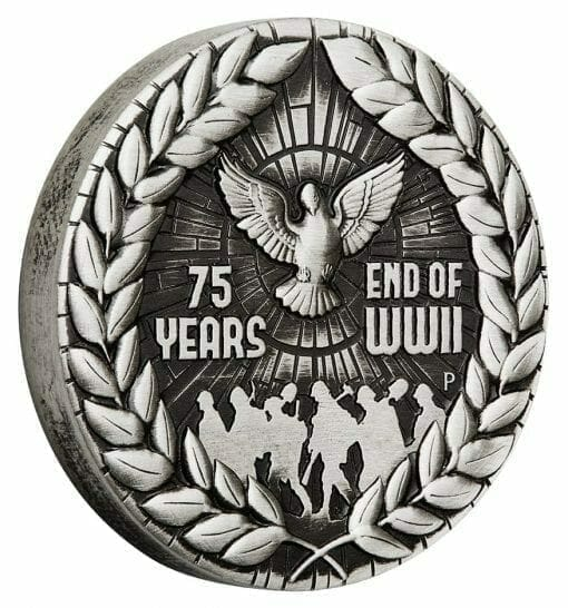 2020 End of WWII 75th Anniversary 2oz .9999 Silver Antiqued Coin 2