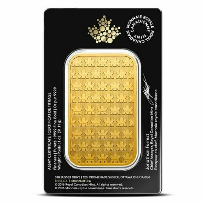 Royal Canadian Mint 1oz .9999 Gold Minted Bullion Bar 2