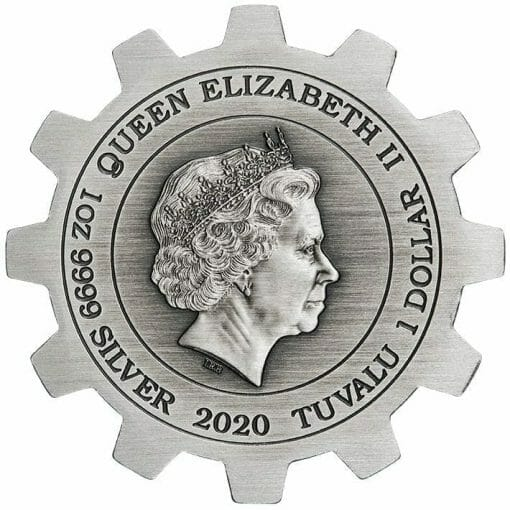 2020 Industry in Motion 1oz .9999 Silver Gear Shaped Antiqued Two Coin Set 6