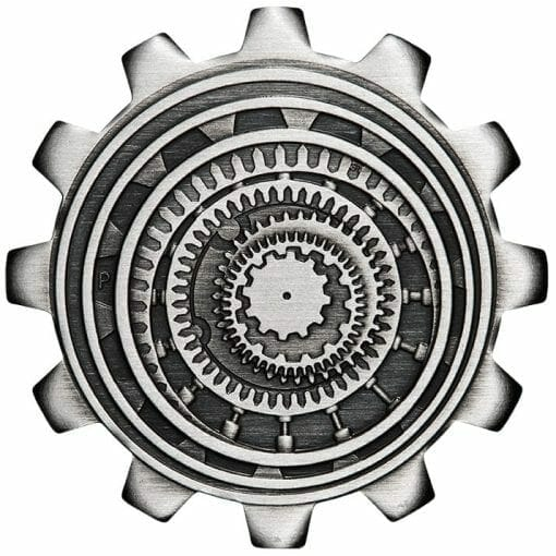 2020 Industry in Motion 1oz .9999 Silver Gear Shaped Antiqued Two Coin Set 4