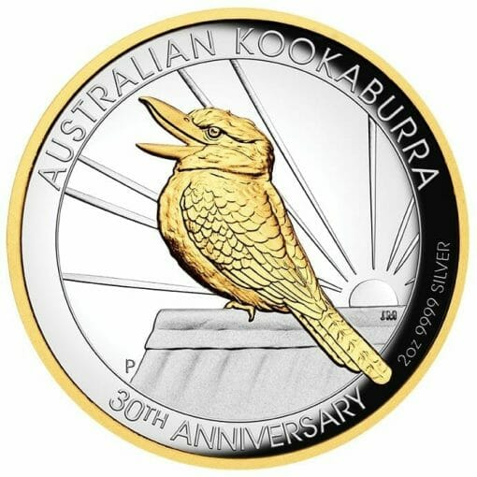 2020 Australian Kookaburra 2oz .9999 Gilded Silver Proof High Relief Coin 1