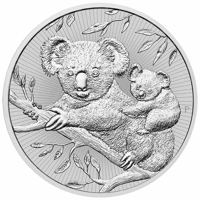 2018 Mother & Baby Koala 2oz .9999 Silver Bullion Piedfort Coin 1