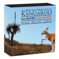 2020 Australian Kangaroo 1oz .9999 Coloured High Relief Silver Coin 9