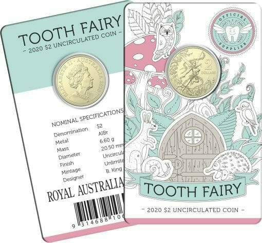 2020 $2 Tooth Fairy Uncirculated Coin in Card - AlBr 1