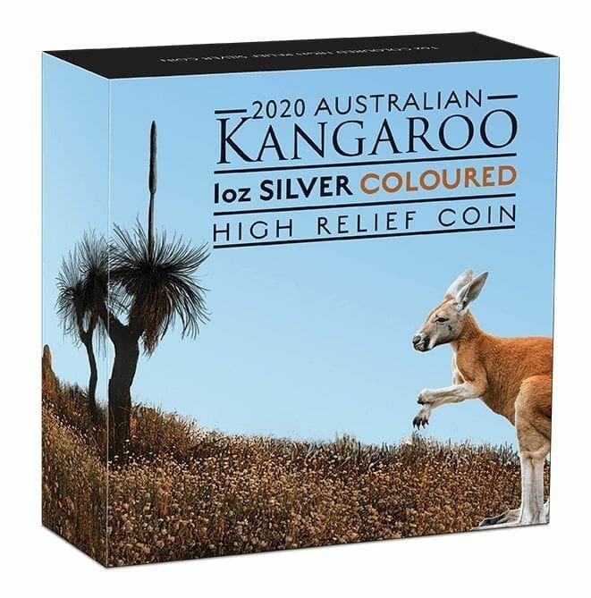 2020 Australian Kangaroo 1oz .9999 Coloured High Relief Silver Coin 5