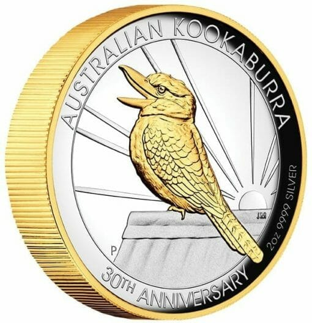 2020 Australian Kookaburra 2oz .9999 Gilded Silver Proof High Relief Coin 2