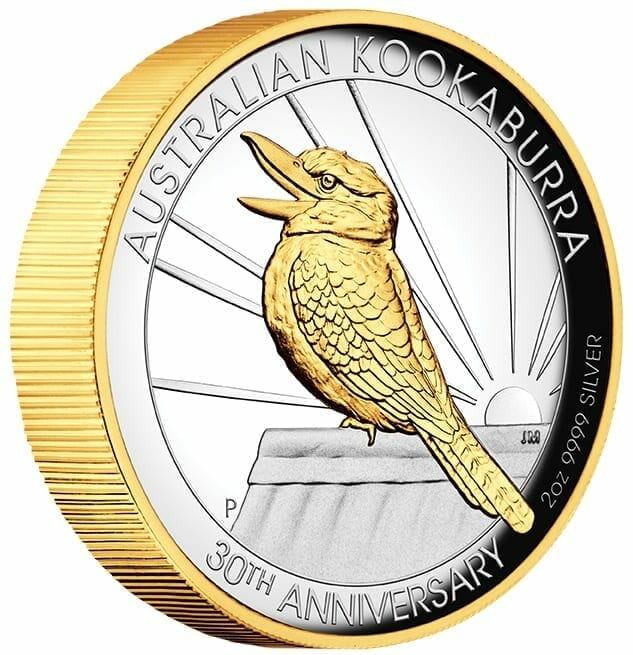 2020 Australian Kookaburra 2oz .9999 Gilded Silver Proof High Relief Coin 6