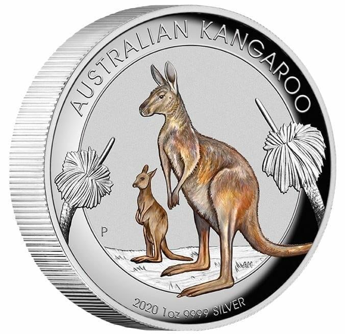 2020 Australian Kangaroo 1oz .9999 Coloured High Relief Silver Coin 2