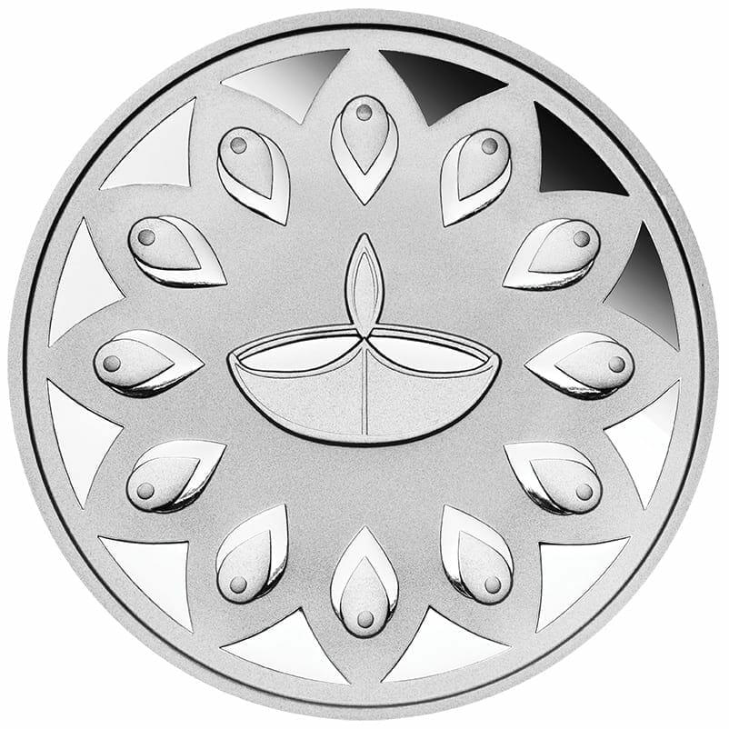 2020 Diwali 1oz .9999 Silver Gilded Medallion 3