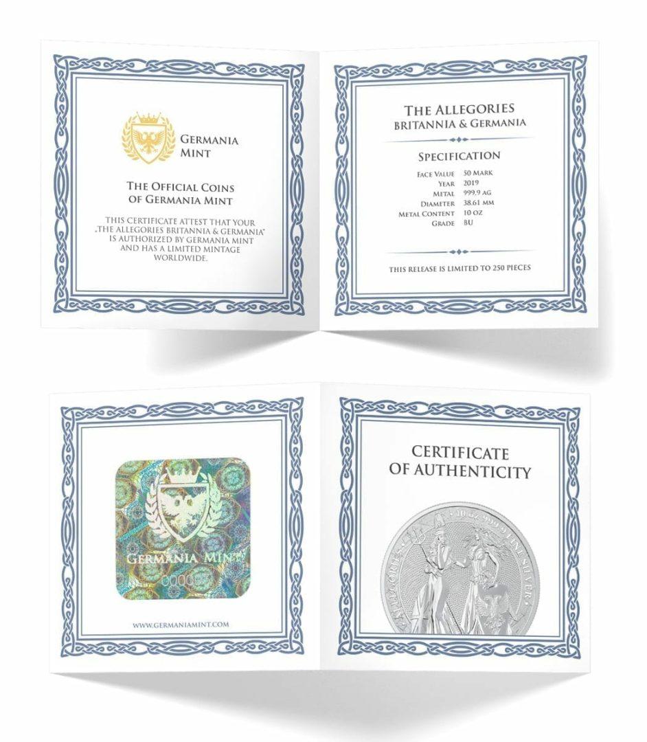 2019 The Allegories - Britannia & Germania 10oz .9999 Silver Coin 3