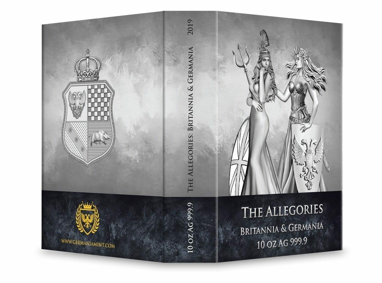 2019 The Allegories - Britannia & Germania 10oz .9999 Silver Coin 5