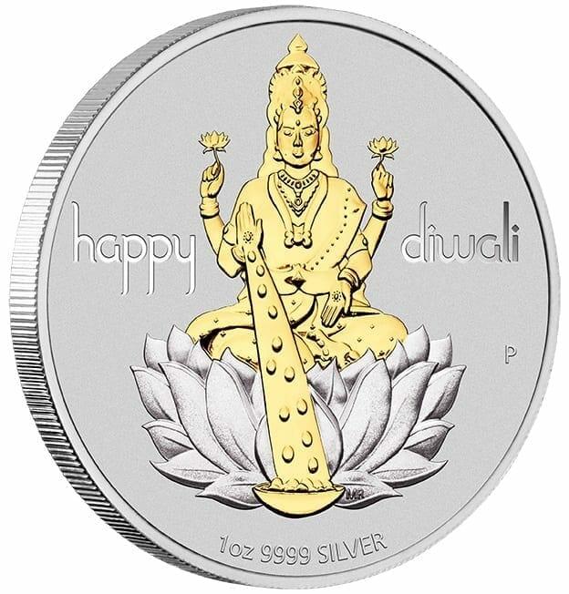 2020 Diwali 1oz .9999 Silver Gilded Medallion 2