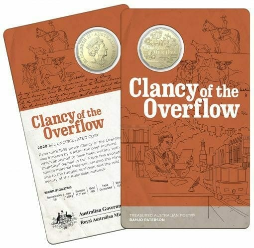 2020 50c Banjo Paterson - Treasured Australian Poetry Uncirculated Three Coin Set - AlBr 8