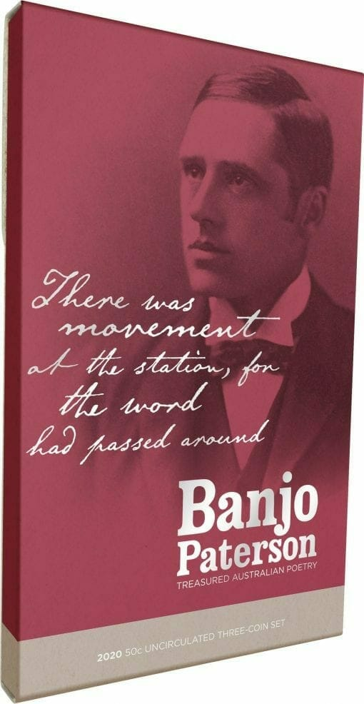 2020 50c Banjo Paterson - Treasured Australian Poetry Uncirculated Three Coin Set - AlBr 2