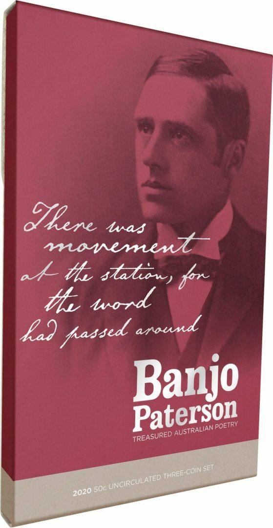 2020 50c Banjo Paterson - Treasured Australian Poetry Uncirculated Three Coin Set - AlBr 2