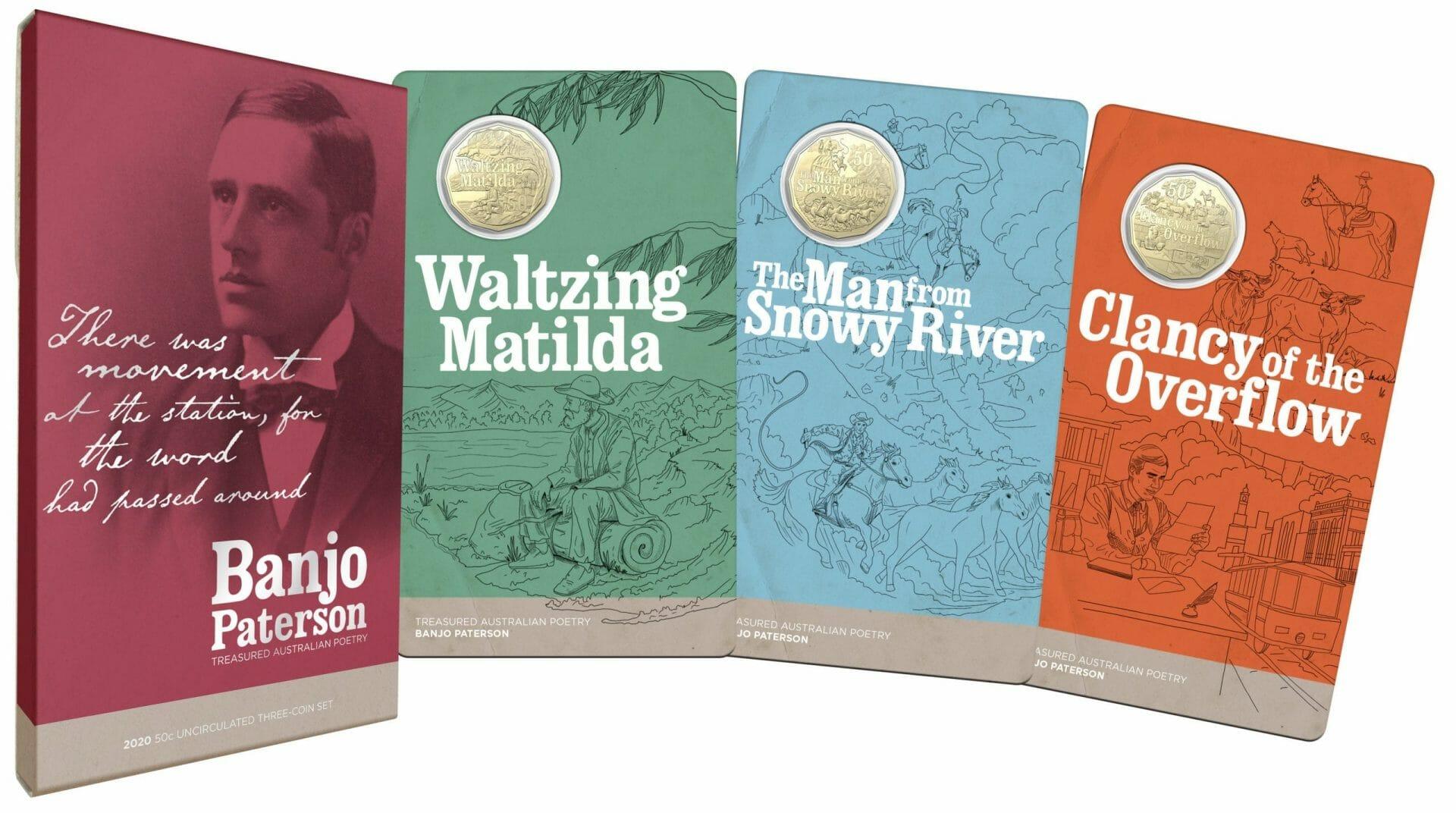2020 50c Banjo Paterson - Treasured Australian Poetry Uncirculated Three Coin Set - AlBr 3