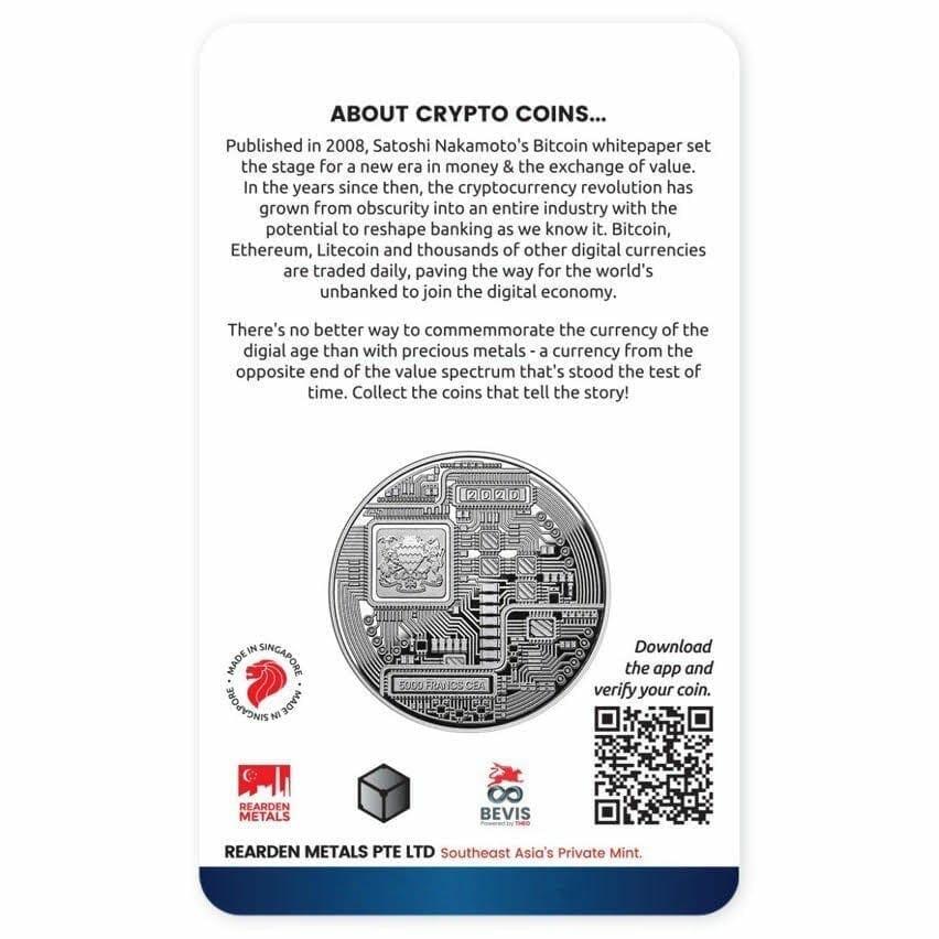 2020 Chad Crypto Series - Litecoin 1oz .999 Silver Coin 3