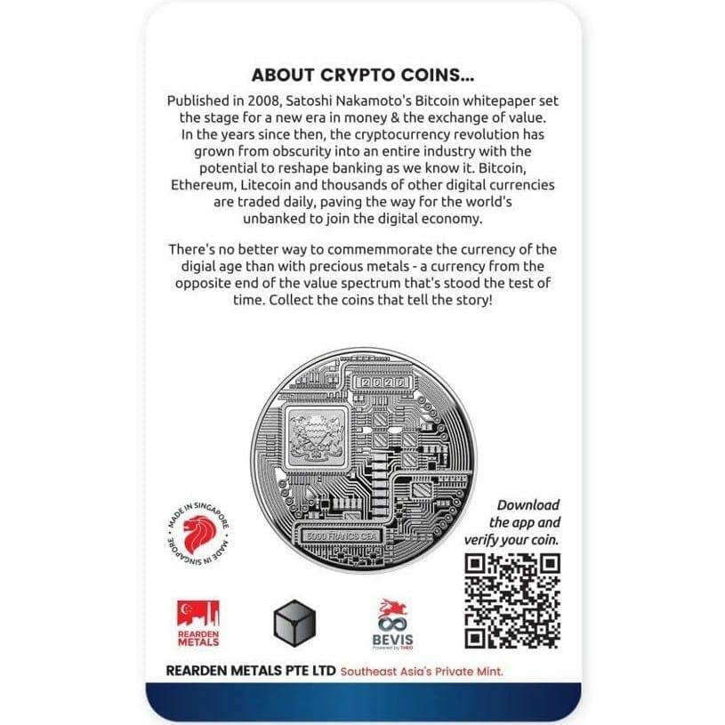 2020 Chad Crypto Series - Bitcoin 1oz .999 Silver Coin 2
