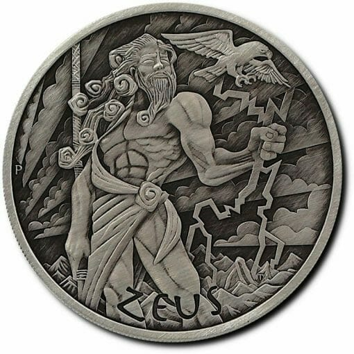 2020 Gods of Olympus - Zeus 1oz .9999 Silver Antiqued Coin 1
