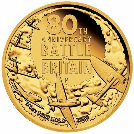 2020 80th Anniversary of The Battle of Britain 1/4oz .9999 Gold Proof Coin 1